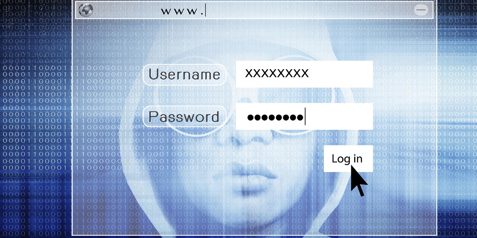 Hacker in front of multiple computer screens.