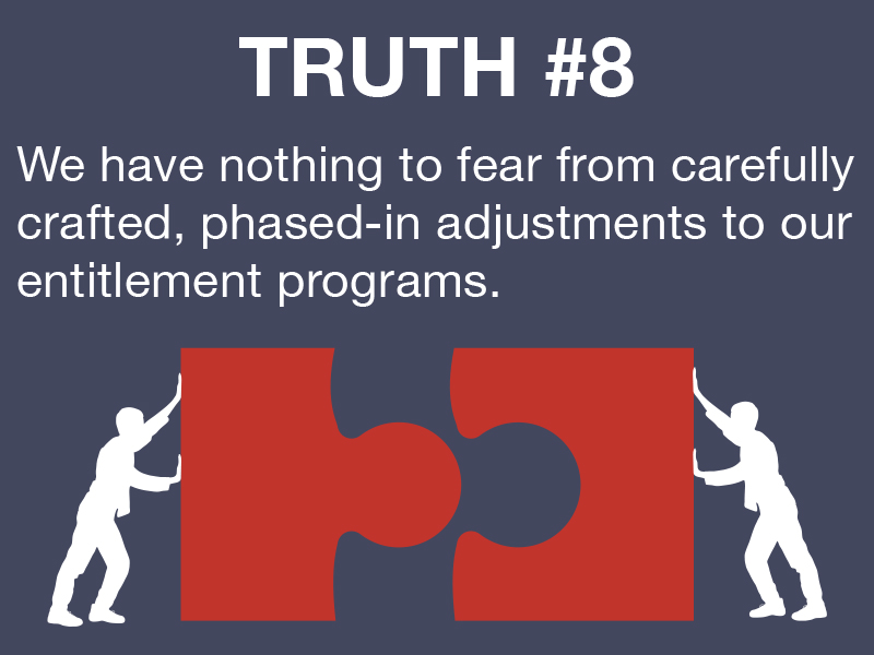 Truth #8: We have nothing to fear from carefully crafted, phased-in adjustments to our entitlement programs.