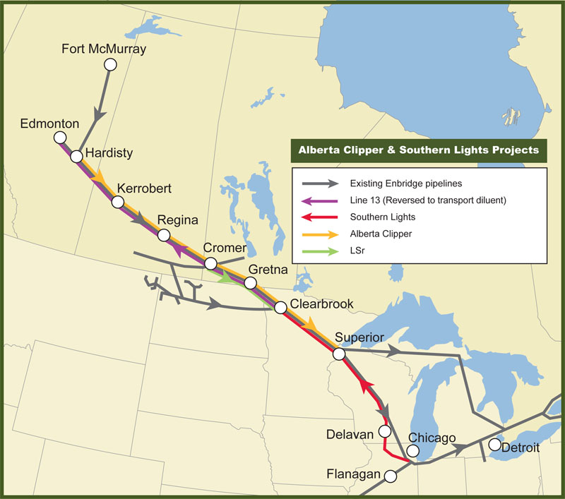 Alberta Clipper pipeline map.