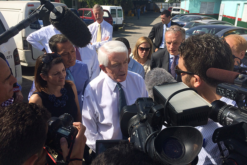 Tom Donohue talking to reporters in Cuba.