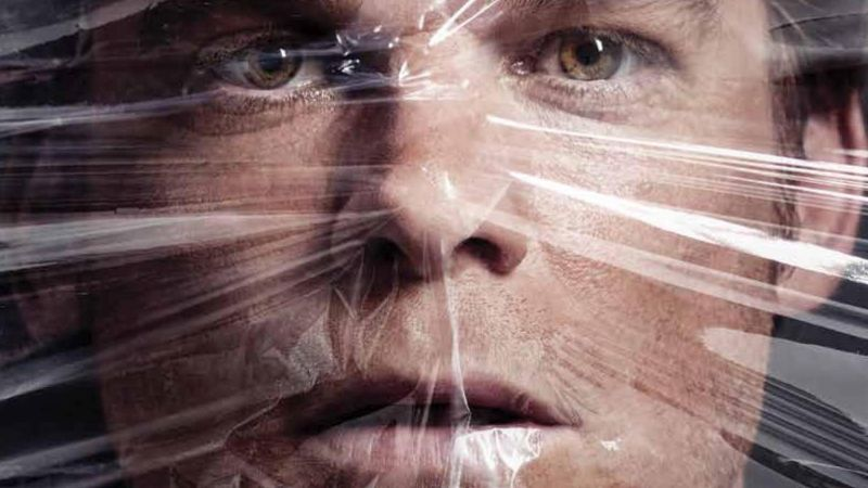 Dexter Season 8 poster. Dexter covered by cellophane.