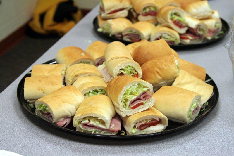 Platter of Jimmy John's sandwiches.