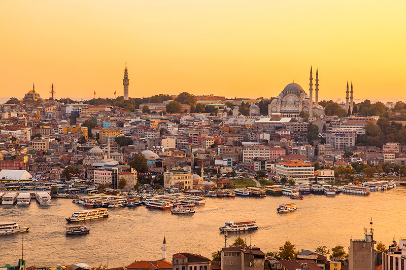 The riverbank in Istanbul, Turkey.