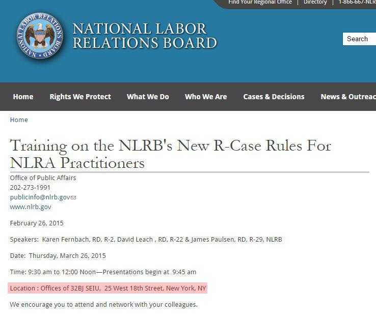 Screen shot of NLRB New York City ambush election training session at SEIU offices.