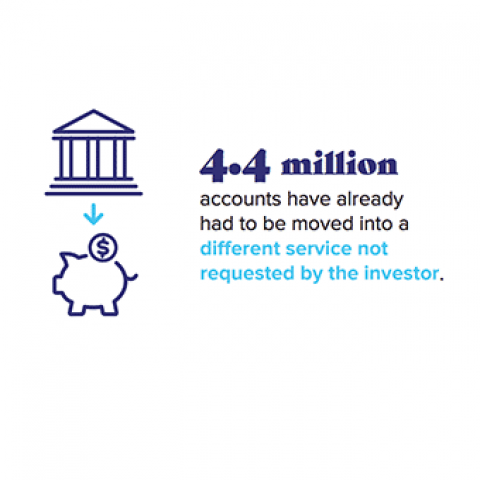 Infographic showing that 4.4 million accounts have already needed to be moved to a different service not requested by the investor