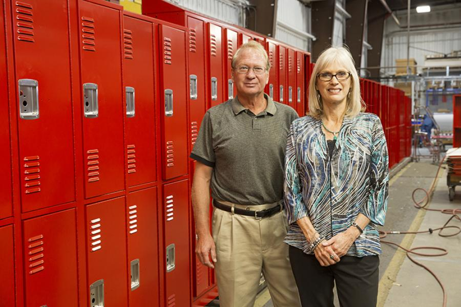 Rob and Janet Berg owners of DeBourgh Manufacturing, a locker manufacturing company.