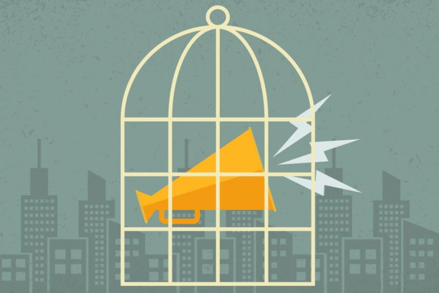 Illustration of a caged bullhorn.