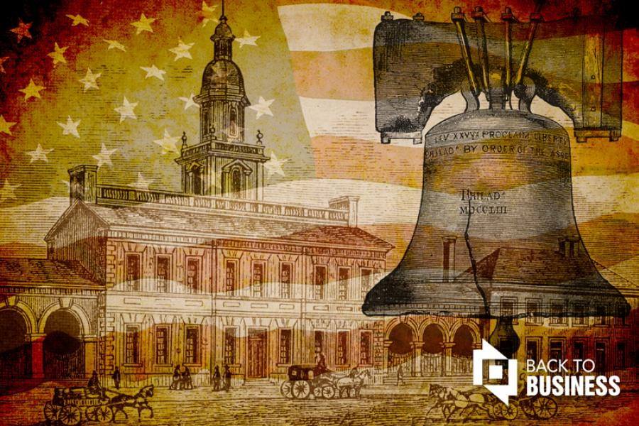 Historic Philadelphia illustrations: Liberty Bell and Independence Hall.