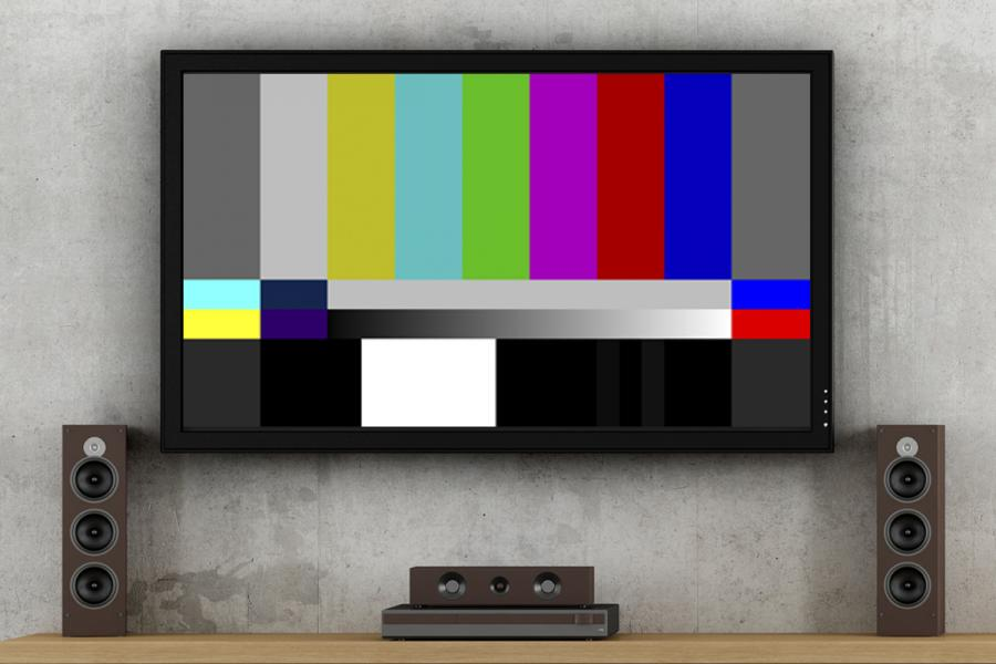 Color test screen on flat-screen television