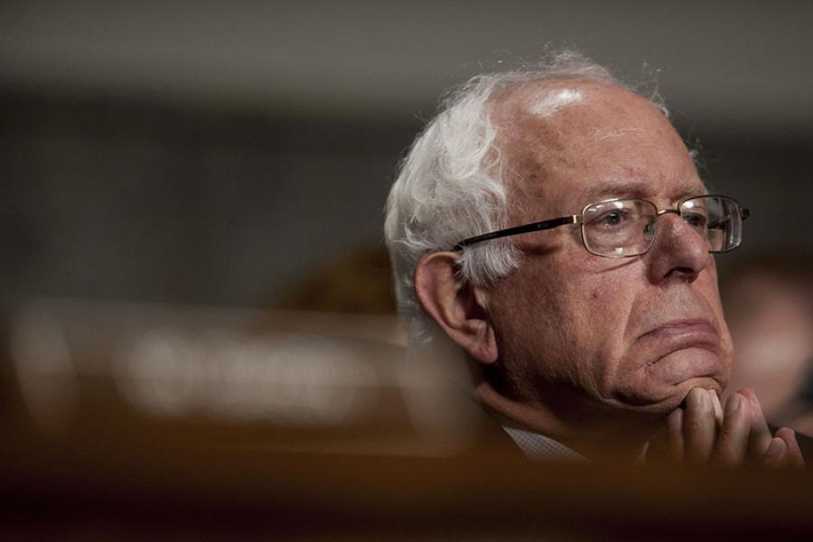 Senator Bernie Sanders listens to the testimony of Robert McDonald, former chief executive officer of Procter and Gamble Co