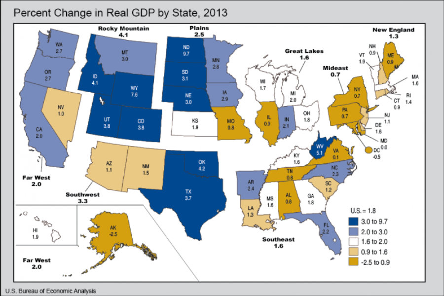 Map: Percent change in real GDP by state in 2013.