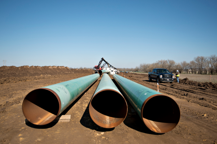 Sections of pipe for the southern leg of the Keystone XL pipeline in Oklahoma in 2013. Photographer: Daniel Acker/Bloomberg.