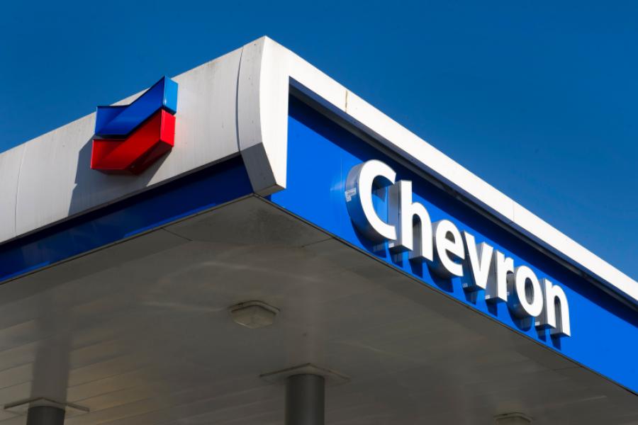Chevron gas station sign.