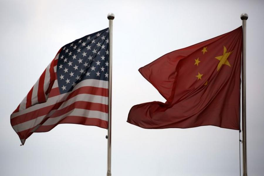 United States and Chinese flags.