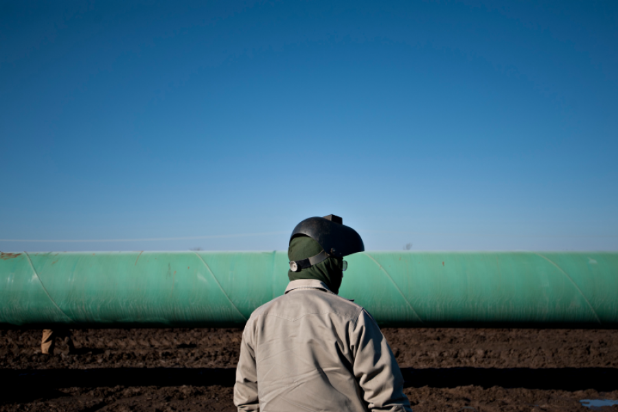 A welder along the Gulf Coast Project pipeline, part of the Keystone XL project.