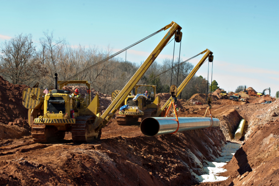 Construction of part of the Keystone XL pipeline in Prague, Oklahoma.