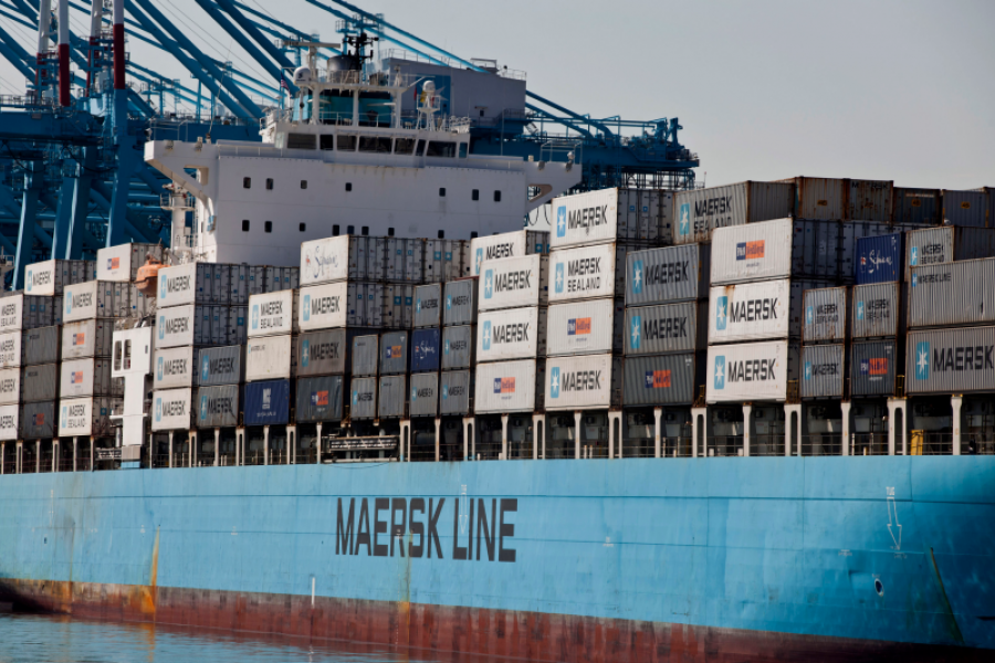 A container ship is docked in Newark Bay in Elizabeth, New Jersey. Photographer: Ramin Talaie/Bloomberg.
