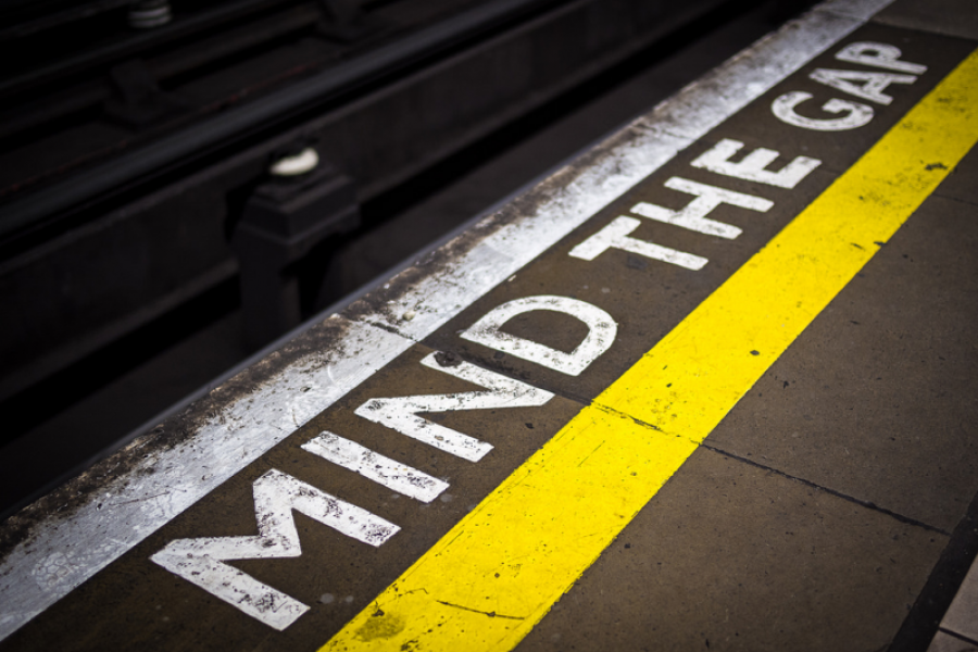 """""""Mind the Gap"""" painted on the London Underground"""