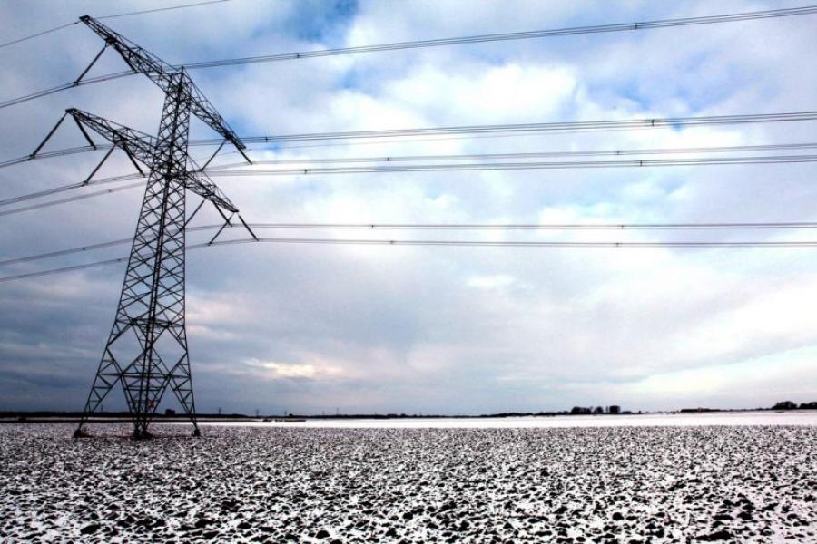 Power line over gravel.