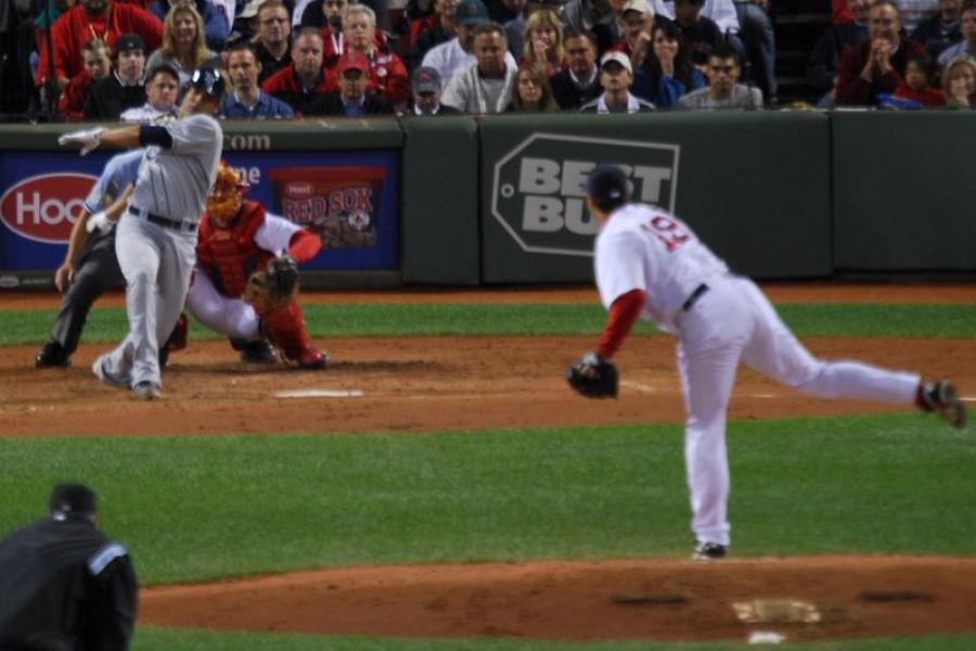 Baseball player strikes out.