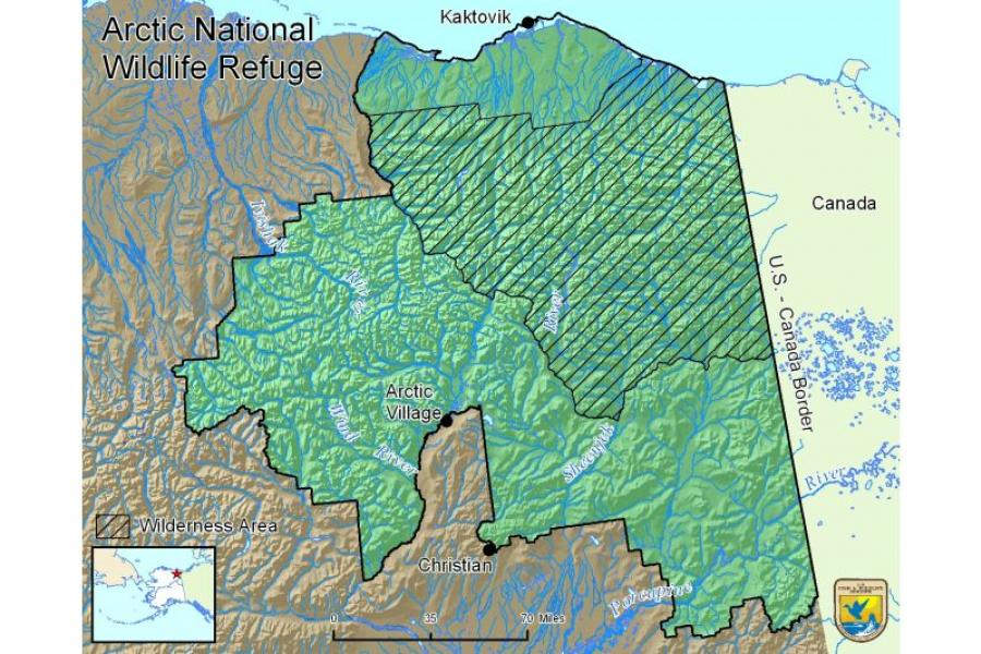Arctic National Wildlife Refuge map.