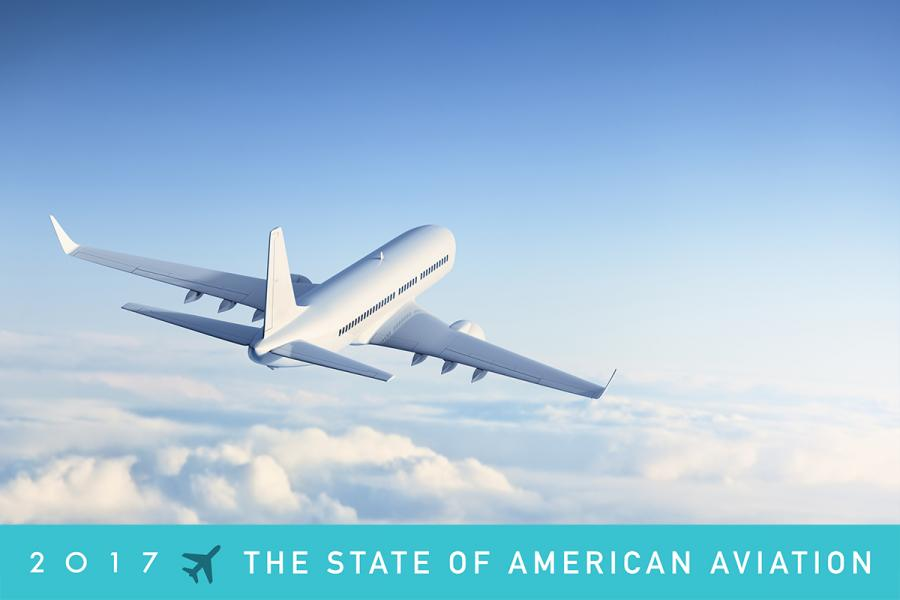 Airliner crusing into the sky. The State of American Aviation