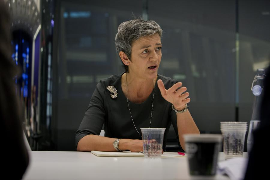 European Union Competition Commissioner Margrethe Vestager speaks during an interview in New York. Photographer: Victor J. Blue/Bloomberg