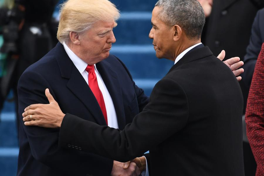 President Trump, left, shakes hands with former President Obama during the 58th inauguration. (Pat Benic/Pool via Bloomberg)