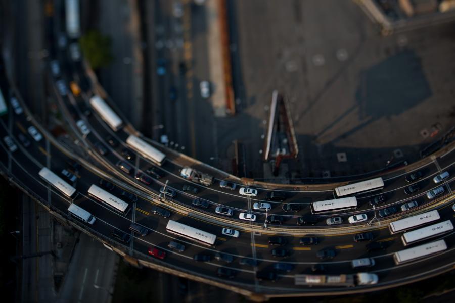 Traffic near the Lincoln Tunnel in Weehawken, NJ.
