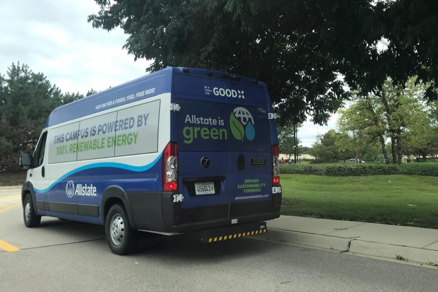 Allstate green bus