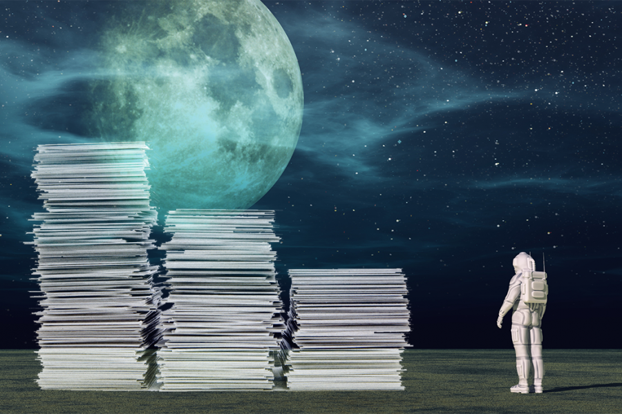 Astronaut Scaling Tall Paper Stack