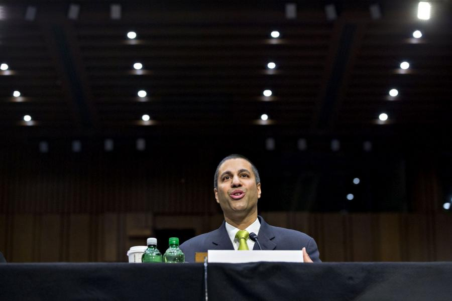 Ajit Pai, chairman of the FCC, speaks during a Senate Commerce, Science and Transportation Committee hearing.