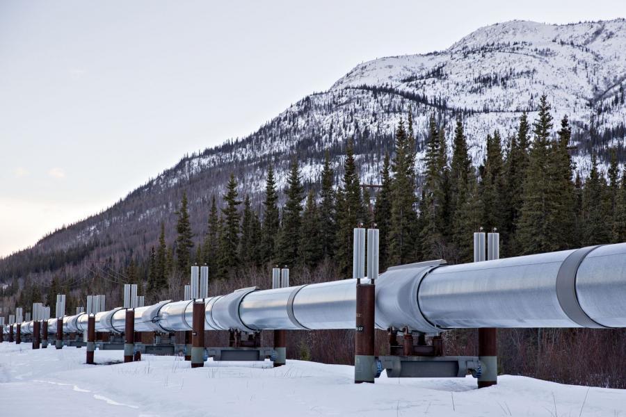 The Trans-Alaska Pipeline stands near Copperville, Alaska.