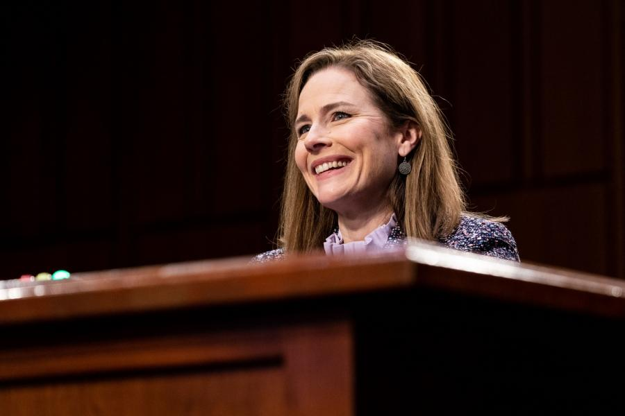 Judge Amy Coney Barrett at a Senate Judiciary Committee Supreme Court confirmation hearing.