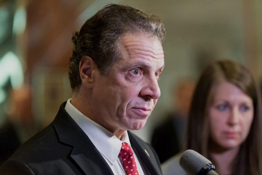 New York Governor Andrew Cuomo (D) in the lobby of Trump Tower in New York City.