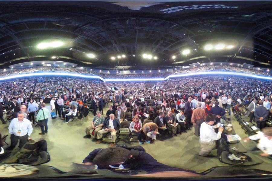 A panaoramic view of the 2017 Berkshire Hathaway annual shareholder meeting in Omaha, Nebraska.