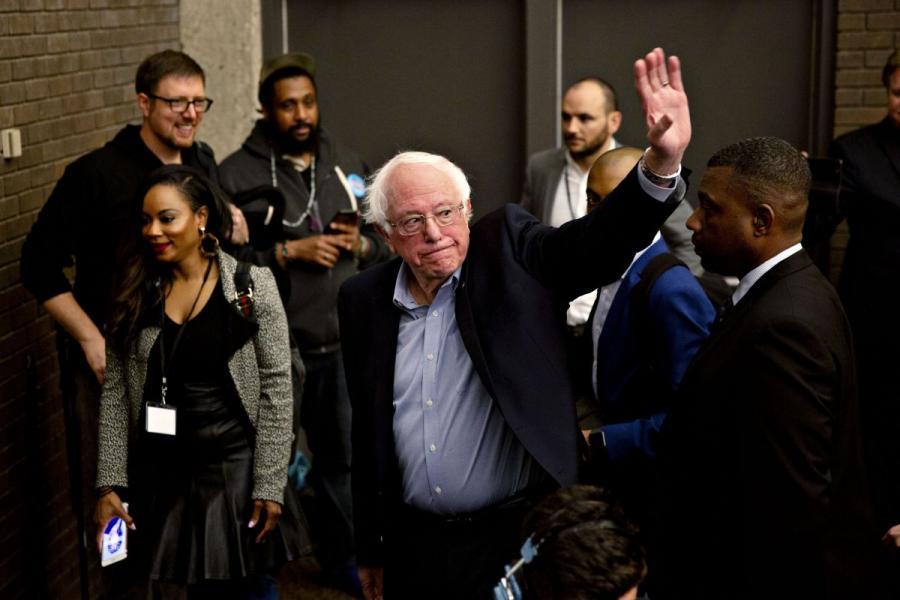 "Senator Bernie Sanders (V-I), a self-proclaimed ""democratic socialist,"" leaves a campaign rally in Milwaukee, WI."