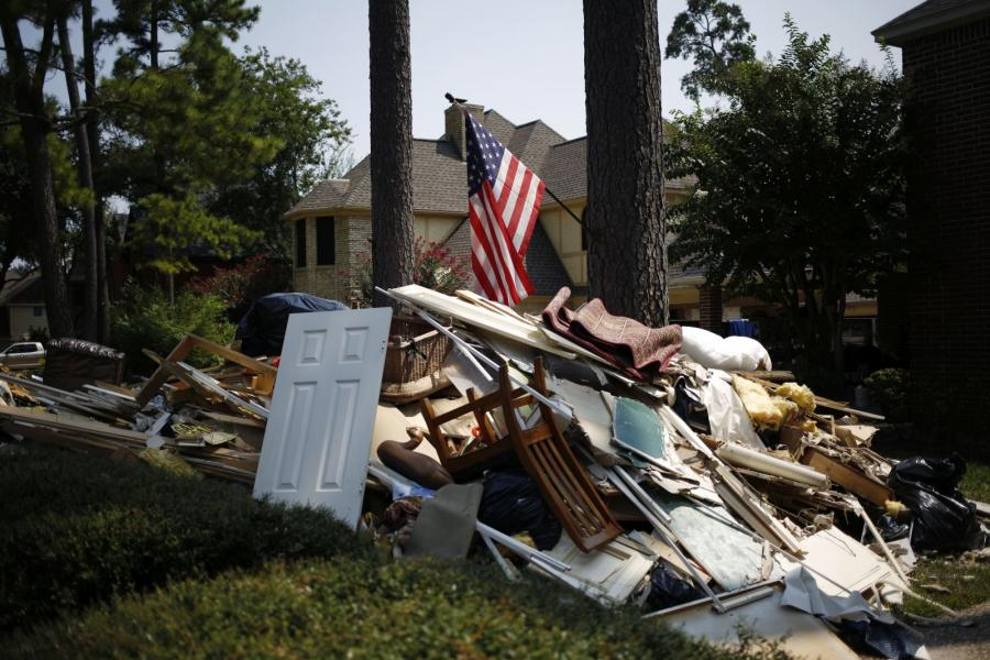 Debris from inside a house flooded by Hurricane Harvey in Spring, Texas.