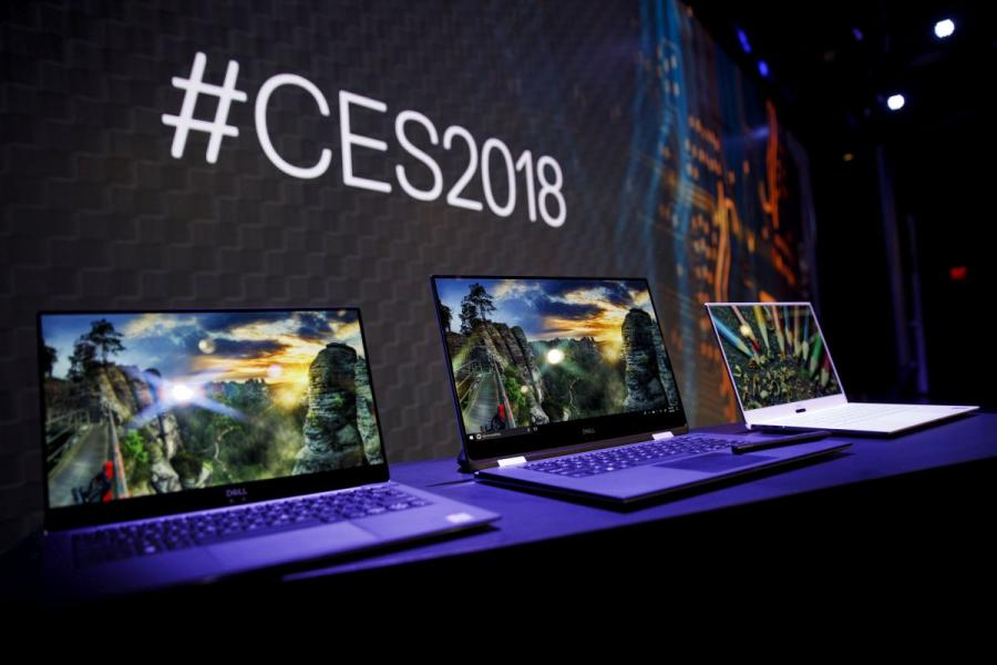 Laptop computers displayed at the 2018 Consumer Electronics Show (CES) in Las Vegas, NV.