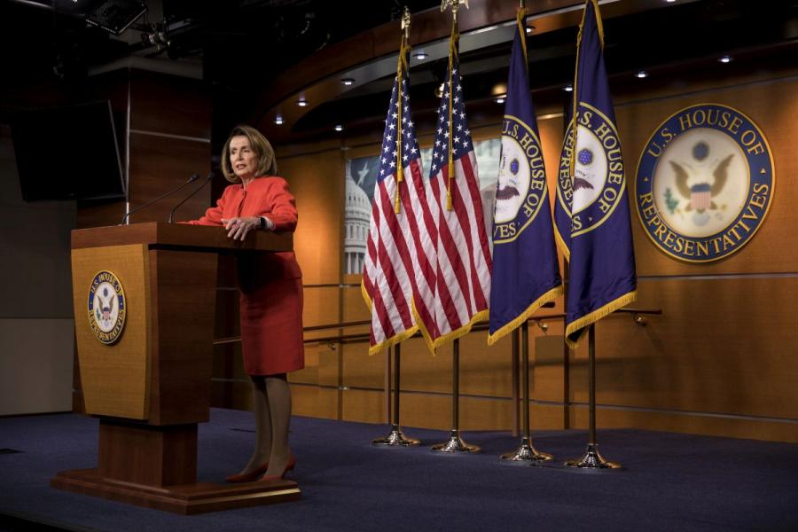 House Minority Leader Nancy Pelosi (D-CA) speaks at a news conference at the U.S. Capitol.