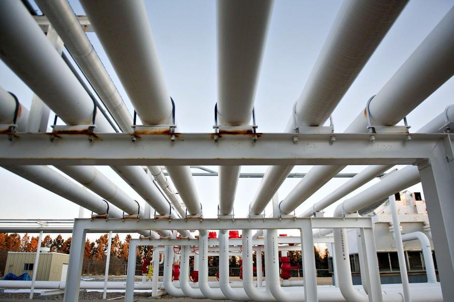 Natural gas pipes in Bismarck, North Dakota.