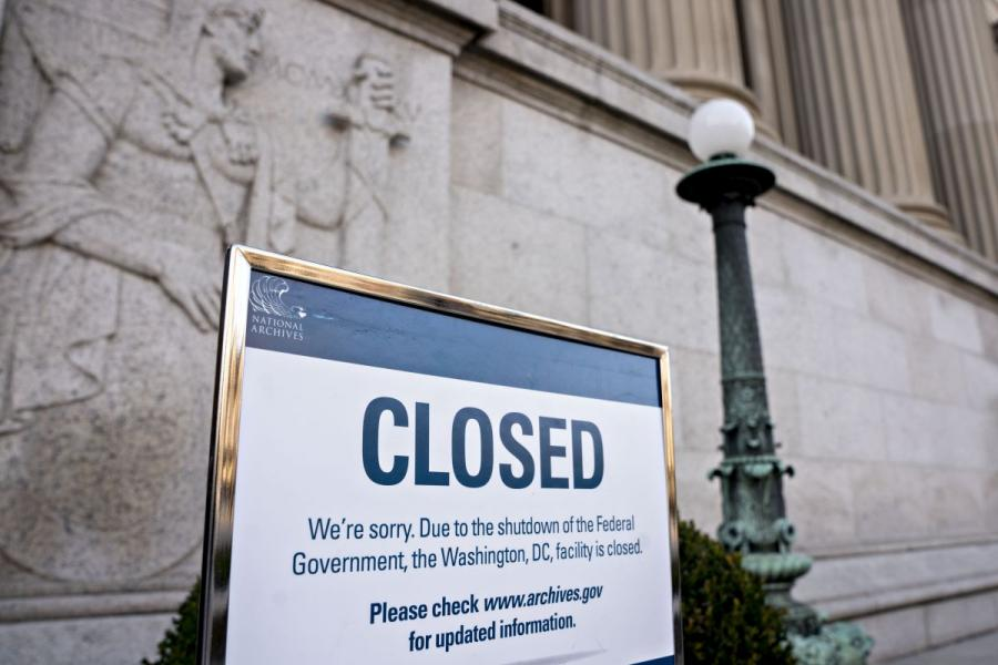 A sign announcing the closure of the National Archives due to a partial government shutdown is displayed in Washington, D.C.