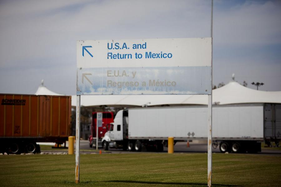 Trucks enter the U.S. from Mexico at the Calexico East Port of Entry in Calexico, CA.