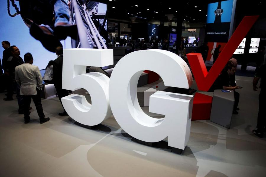 Verizon Communications 5G wireless signage at the Mobile World Congress Americas in Los Angeles, CA.