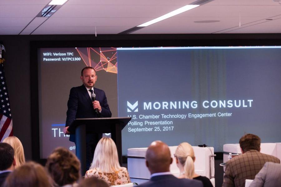 Tim Day, senior vice president of C_TEC, speaks at a discussion on Artificial Intelligence hosted by C_TEC, TheBridge, and Dcode42.