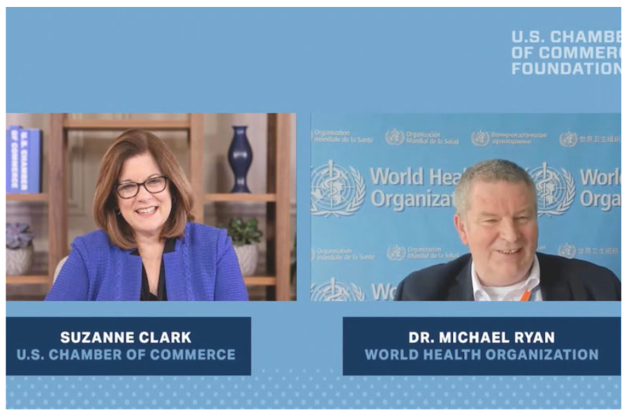U.S. Chamber President & CEO Suzanne Clark sits down virtually with WHO's Dr. Michael Ryan