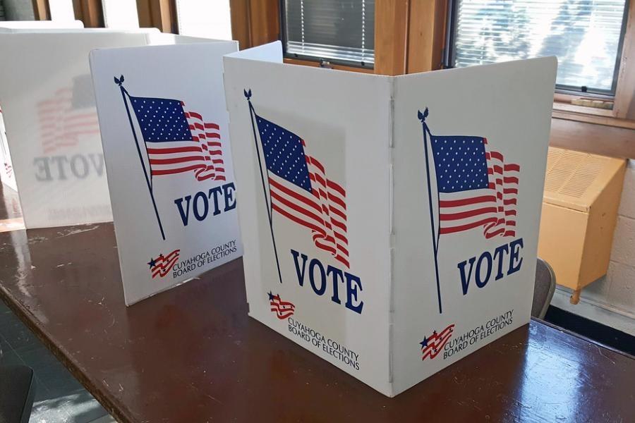 Voting carrels in the 2019 Ohio general election.