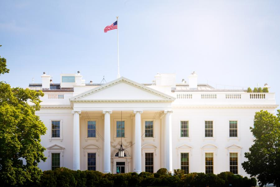 The White House in Washington, D.C. on a sunny day