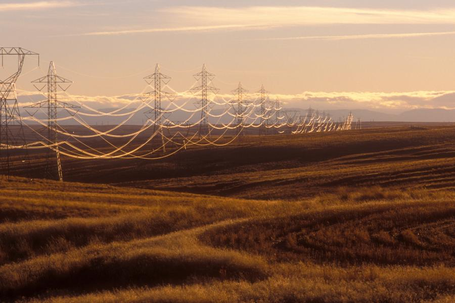 Power lines course through the hills east of San Francisco Bay