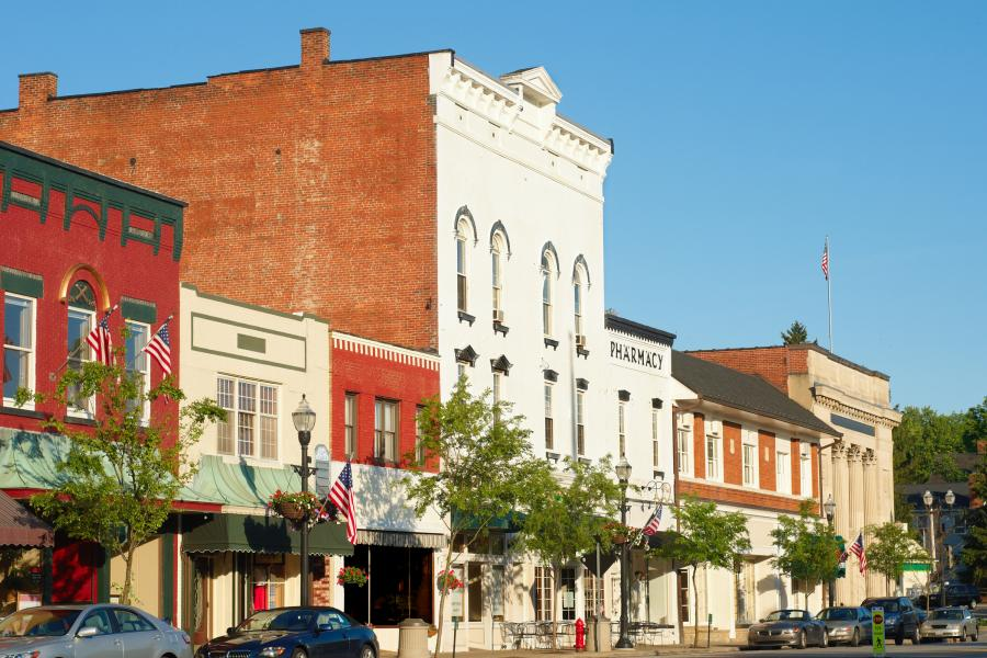 Small businesses along Main Street in America